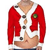 Loalirando Vêtement Noël Homme T-Shirt Drôle à Manches Longues PullMoche de Noël Motifs 3D Imprimés, Rouge 3, XL