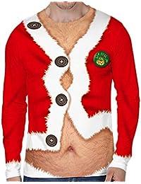 4d338a4ccb397 Loalirando Vêtement Noël Homme T-Shirt Drôle à Manches Longues Pull Moche  de ...