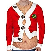 551829f009a6fd Loalirando Vêtement Noël Homme T-Shirt Drôle à Manches Longues Pull Moche  de ...