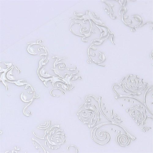 heet 3D Nail Sticker Multi Blumenmuster DIY Maniküre Floral Selbstklebende Nail Art Tipps Dekoration (Farbe: Splitter) (Hollywood-weihnachten Dekorationen)