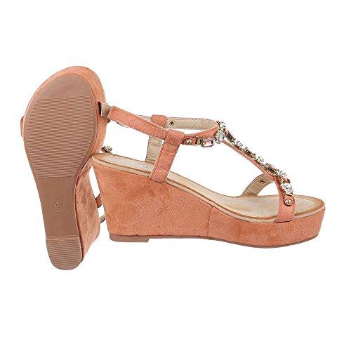 Ital-Design , chaussures compensées femme Vieux Rose