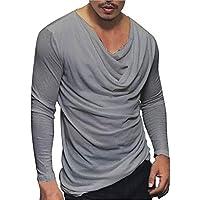 JERFER Remise T-Shirt à Manches Longues décontracté pour Homme Pull Mode  Sport Solide Chemisier e21c201b40d
