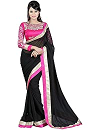 Sareekasarees Chiffon Saree With Blouse Piece (Skss012_Black_Free Size)