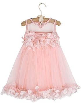 Vestido de verano de gasa y tul sin mangas Puseky para bebés, niños y niñas con flores