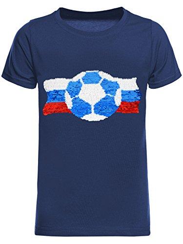 BEZLIT Jungen WM Russia 2018 Fußball Fan T-Shirt Wende-Pailletten Russland Shirt 22736 Blau Größe 152