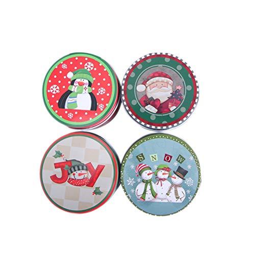 UPKOCH 4pcs Weihnachtsdose Keksdosen Geschenkbox Runde Süßigkeit Dosen Plätzchendose Gebäckdose Vorratsbehälter mit Deckel (Zufälliges Muster)