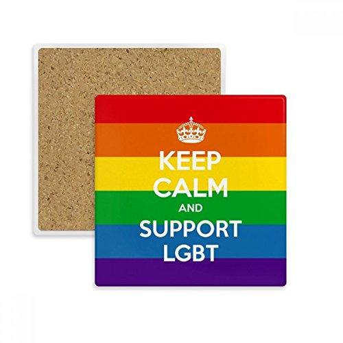 Rainbow Transgender bisexuals Flagge LGBT quadratisch Untersetzer Cup Becher Halter saugfähig Stein...