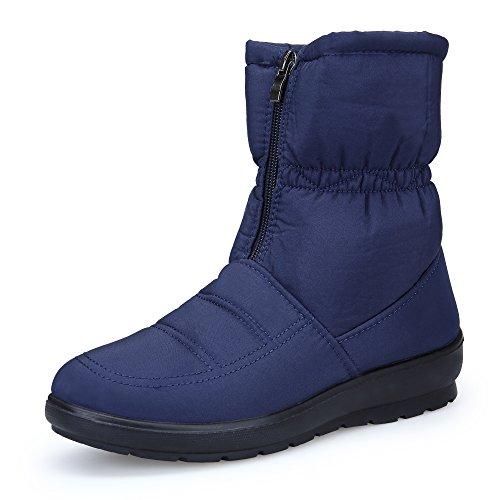 KOUDYEN Womens Snow Boots Warm Faux Fur Lined Flat Outdoor Lightweight Winter Boots