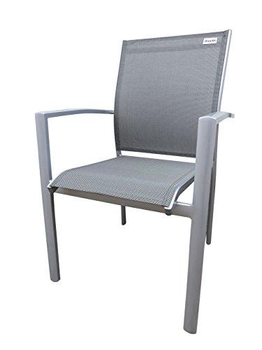 6 x Doppler Luxus Stapelsessel 'Detroit Plus silber', platzsparend stapelbar, Aluminium Gestell und Textilen Bezug