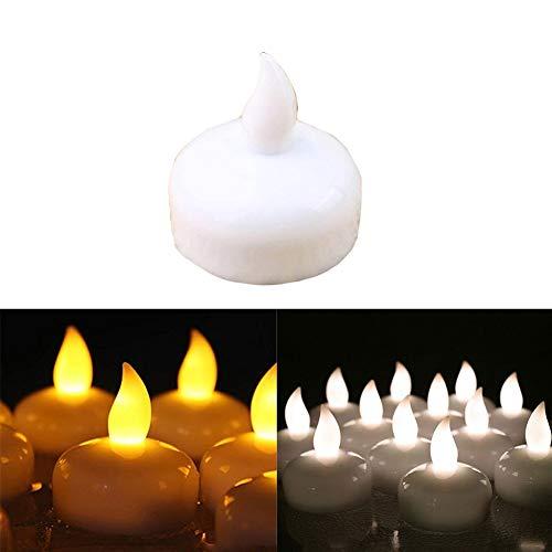 lichter, flammenlose Teelichter, wasserfest, batteriebetrieben, schwimmende LED-Teelichter mit Wassersensor, flackerndes Gelb/Weiß für Geburtstagsparty, Zeremonie, gelb, Free Size ()