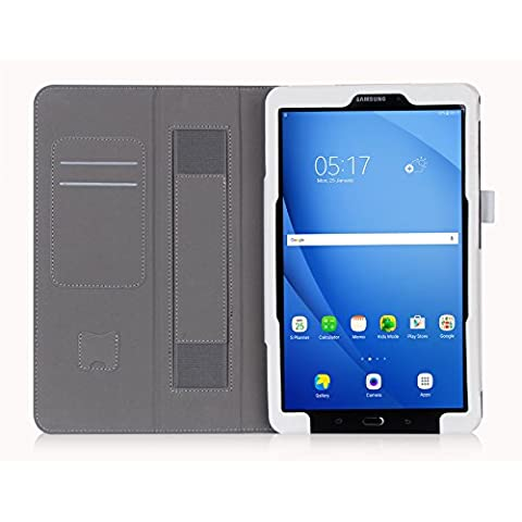 ISIN Funda para Tablet Serie Funda de Premium PU con Stand Función para Samsung Galaxy Tab A de 10,1 pulgadas WIFI 4G LTE T580 T585 Android Tablet con Velcro Correa para la Mano y Ranuras para Tarjetas (Blanco)