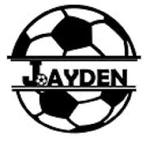 Bügelbild Aufbügler mit Name Fußball Soccer in Flex, Glitzer, Flock, Effekt in Wunschgröße