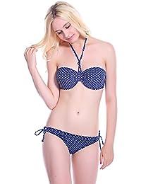 10002-3 Bandeau Bikini mit weissen Punkten, schwarz 44