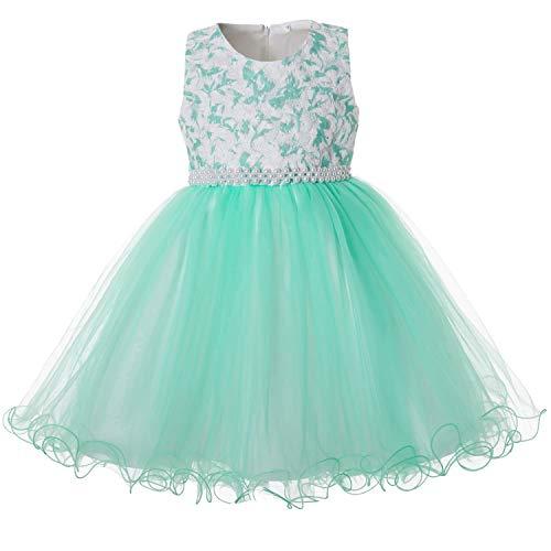 mit Blumenrelief Mädchen, Festliches Prinzessin Kleider Zeremonie Mädchen Ärmellos ()