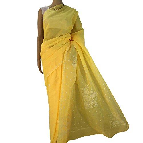 R'ZU Women's Yellow with White Cotton Lucknowi Chikankari Sari