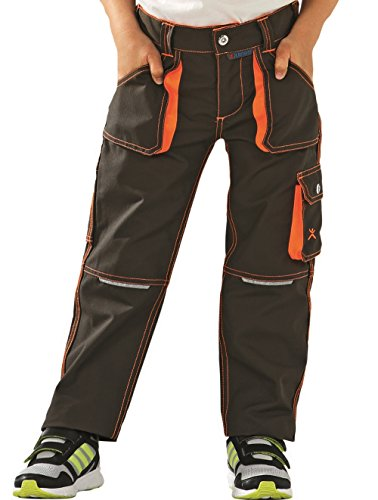 6112 Planam Junior Bundhose oliv/orange (110/116) (Kinder-cargo-hose)