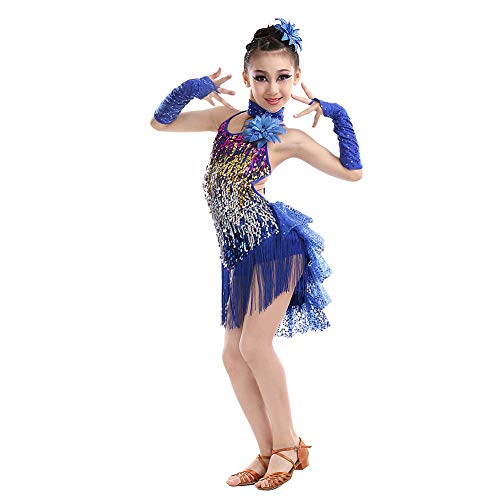 Huatime Latein Tanz Kleider Röcke Mädchen - Kinder Franse Pailletten Kleider Bekleidung Tanzkleid Kostüm Turnierkleid Salsa Tango Kleid Samba Rumba Ballroom Cha Cha (Ballroom Samba Kostüme)