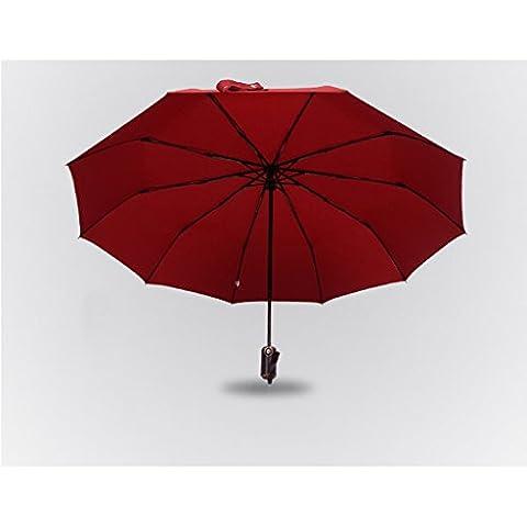 Soleggiato Ombrello commerciali automatici Venti Ultra-light Piegato solido ombrello di colore ( colore : Rosso )