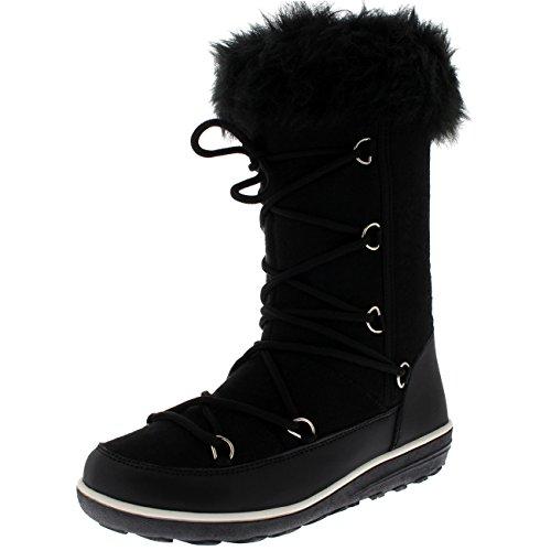 Damen Kunstpelz Thermal Warm Winter Schnee Regen Wasserdicht Knie hoch Stiefel - Schwarz Textil - UK7/EU40 - YC0476 (Stiefel Knie Damen Hohe)