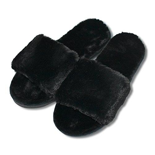 Mstar, pantofole da donna, in morbida e calda pelliccia, antiscivolo, in cotone, ideali per autunno/inverno, nero (nero), eu 36/37