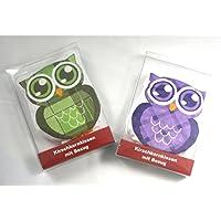 2x Kirschkernkissen mit Bezug im Eulen Design 4 Farben: Rosa, Blau, Grün oder Lila preisvergleich bei billige-tabletten.eu