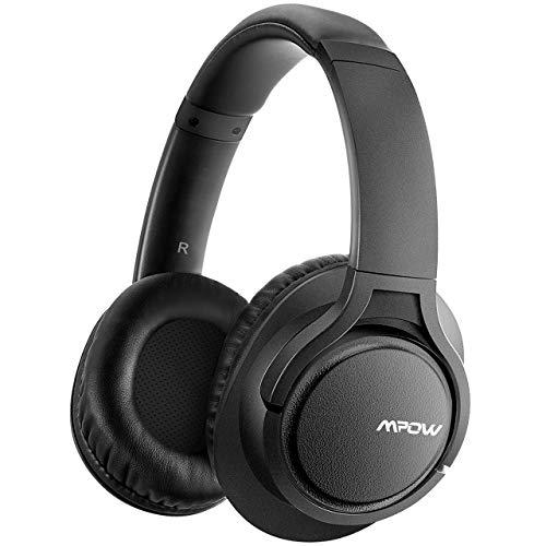 【Verbesserte】Mpow H7 Bluetooth Kopfhörer over Ear, Kabellose Kopfhörer mit Kräftigen Bass-Sound, 18 Stunden Spielzeit, Memory-Protein Ohrpolster, CVC6.0 Mikrofon Freisprechen, Schwarz (Wireless Bluetooth Tv Kopfhörer)
