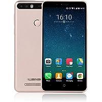 Smartphone Libre con 4000mAh Batería, LEAGOO KIICAA POWER 3G Móviles de 5.0'' HD IPS Android 7.0 (Dual Cámara 5MP + 8MP, 2GB RAM 16GM ROM, MT6580 1.3Ghz Quad Core, Huella Datilar, Dual Sim) (Oro)
