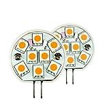 LIGHTEU 2 xSuper helle Seiten stift leuchtmittel LED mit G4 Stiftsockel 8 SMD (5050) AC/DC 10-30v Warmweiss