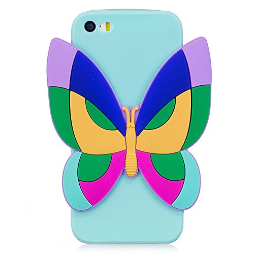 Custodia iphone SE Cover, iphone 5S Cover Silicone, Custodia Morbido TPU Flexible Gomma per iphone 5, Ekakashop Moda Ragazza Donne Funny Cute Pattern de Morbido Soft Silicone Bumper Cover, Ultra Sotti Farfalla