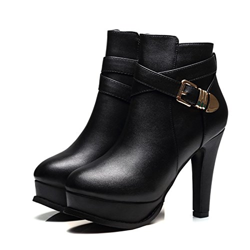 KHSKX-L'Automne Nouvelle Mode Noir Imperméables Correspond À Talons Chaussures Bottes D'Hiver Avec Martin Petit Tube Brut Bottes Tide black