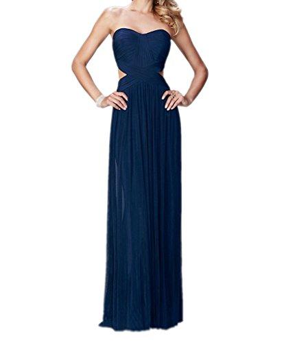 Royaldress Navy Blau Elegant Traegerlos Herzausschnitt Chiffon Brautjungfernkleider Partykleider Abendkleider Navy Blau
