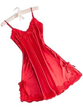 Vivente Vivo - Camicia da notte da donna, effetto raso