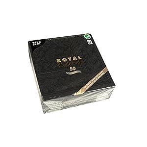 """Papstar, 50 Servietten """"ROYAL Collection"""" 1/4-Falz 40 cm x 40 cm schwarz """"Ornaments"""", #19828"""