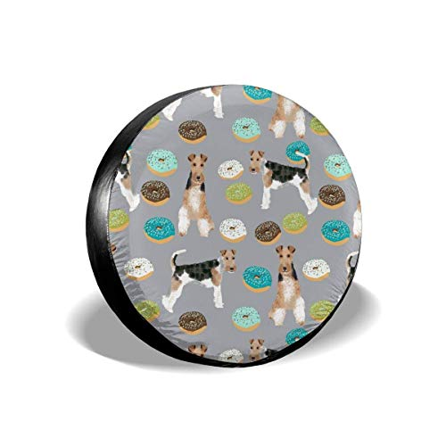 False warm warm Wire Fox Terriers Dog Breed Donuts Boys Polyester Universal Spare Wheel Tire Cover Wheel Covers Jeep Trailer RV SUV Truck Camper Travel Trailer Accessories(14,15,16,17 Inch) 17inch
