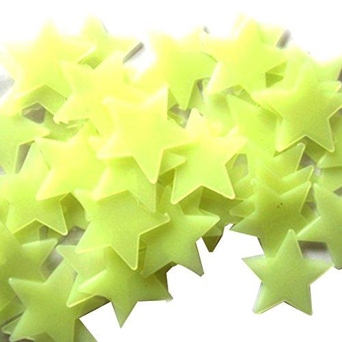 100Pcs / Pack leuchtende Sterne Wand Aufkleber Glow In The Dark Stars For Kids 3CM Gelb