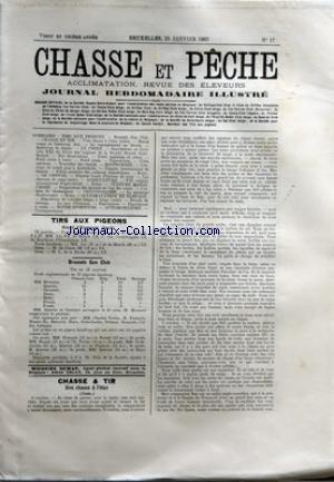 CHASSE ET PECHE [No 17] du 25/01/1903 - TIRS AUX PIGEONS - STAND D'EVERGEM - BRUSSELS GUN CLUB - CHASSE ET TIR - UNE CHASSE A L'ELAN - LE YORKSHIRE TERRIER BILLY II A M. A. HOUZE DE JETTE-SAINT-PIERRE
