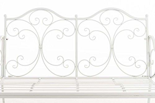 CLP Eisen Gartenbank YAMA, 2-Sitzer, Landhaus-Stil, Design nostalgisch antik Weiß - 3