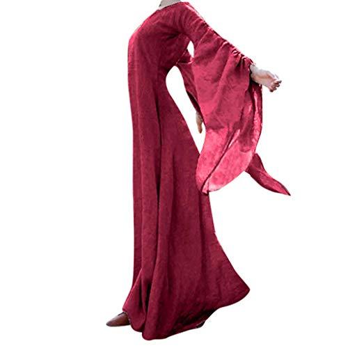 Damen Langarm Mittelalter Kleid,Frauen Herbst Winter Mittelalter Gothic Retro Solide Langarm Ballkleider Maxi Kleid Kleider Halloween Cosplay Kostüm Prinzessin Kleid Lange Abendkleid