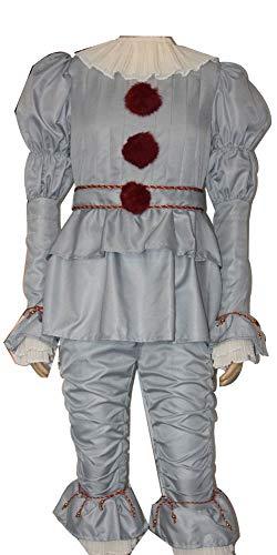 Sodhue Halloween Kostüme Pennywise Clown Cosplay Jumpsuit Bekleidung Film Halloween Narr Anzug für Weihnachtsfeier Rollenspiel Urlaub Karneval Party Festival (Urlaub Kostüm Kinder)