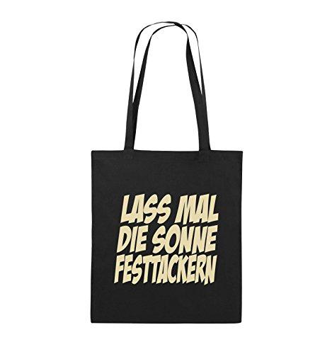 Comedy Bags - LASS MAL DIE SONNE FESTTACKERN - Jutebeutel - lange Henkel - 38x42cm - Farbe: Schwarz / Silber Schwarz / Beige