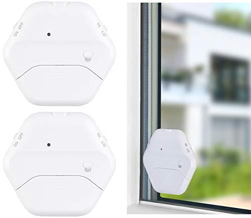 VisorTech Fensteralarm: 2er-Set extradünne Glasbruchmelder, 2 Stufen, 95 dB, 54 Monate (Glasbruch-Alarm)