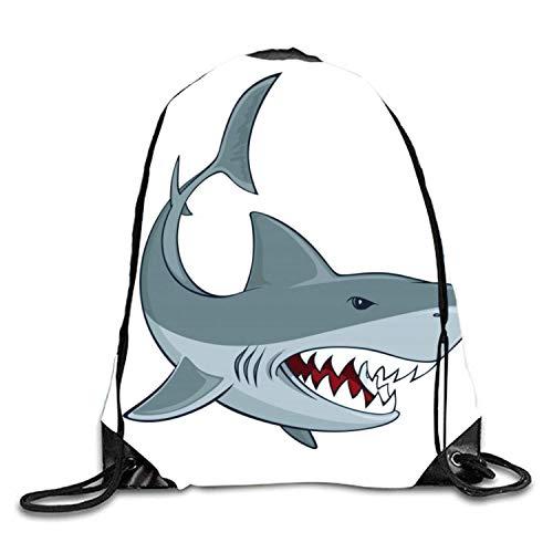 Kordelzug Rucksack Tasche Gym Sackpack Shark Zeichen String Tasche Canvas Cinch Pack für Mann & Frau (Cinch-zeichen)