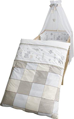 roba Kinder-Bettgarnitur 4-tlg, Babybett-Ausstattung \'Tierfreunde\', Bettset 4-teilig: Bettwäsche 100x135 (Decke & Kissen), Nestchen, Himmel