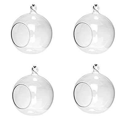 Midore Hanging Glass Bauble Sphere Candle Tea Light Holder Clear With Open Hole Terrarium Plant Holder from Midore Direct