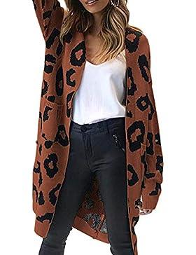 [Patrocinado]Romacci Cardigan Suéter Otoño de Las Mujeres de Punto Largo Estampado Leopardo de Manga Bolsillo Prendas de Punto
