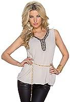 4220 Fashion4Young Damen Locker geschnittenes Sommertop Chifon Shirt V-Ausschnitt 7 Farben + Gürtel