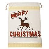 Berrose-Baumwolltuch Weihnachten Geschenktasche Kordelzug Tasche zeichnen Große Leinwand Frohe Santa Sack Xmas Stocking Rentier Geschenk Aufbewahrungstasche Geschenktüten Geschenktaschen