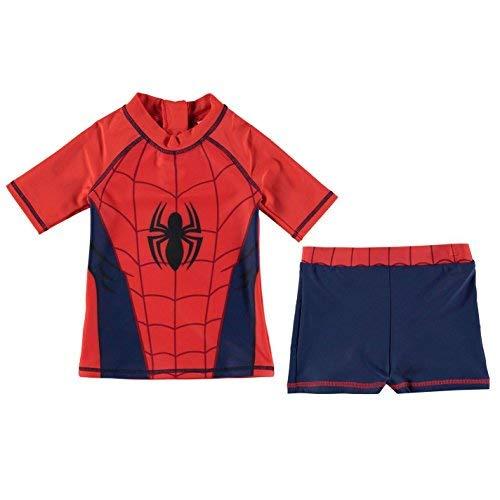Character 2 Teile Schwimmset Kleinkinder Junior Jungen Bademode Baden Kostüm Tenue De Plage - Rot - Spiderman, 5-6 Years (Spiderman Kostüme Für Kleinkind Jungen)