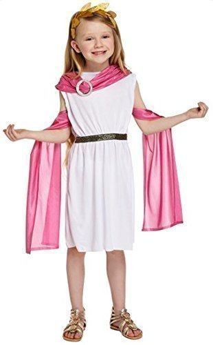 iß/Pink Griechische Göttin Prinzessin Toga Modisches Kostüm Outfit 4-12 Jahre - Weiß, 10-12 years (Griechische Göttin Kostüm Kopfschmuck)