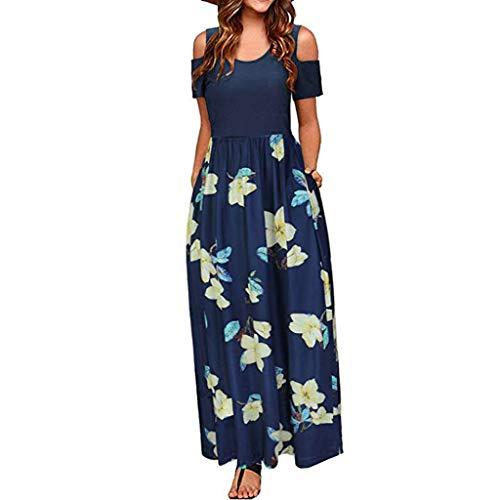 GOKOMO Damen Hose Größe Baumwolle Leinen Kleid Top Frauen Casual V-Ausschnitt Kurzarm Solide Knielangen Split Hem Kleider Damen Casual Lose Maxikleider(M-L3)(Navy Blue-c,Large) -